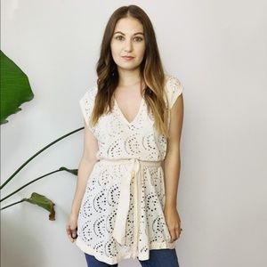 Free People Ivory Sleeveless Tie Tunic Top